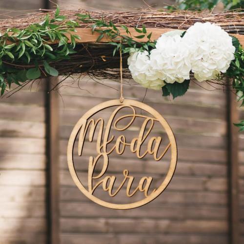 KOŁO obręcz ślubna z napisem Młoda Para DREWNIANE