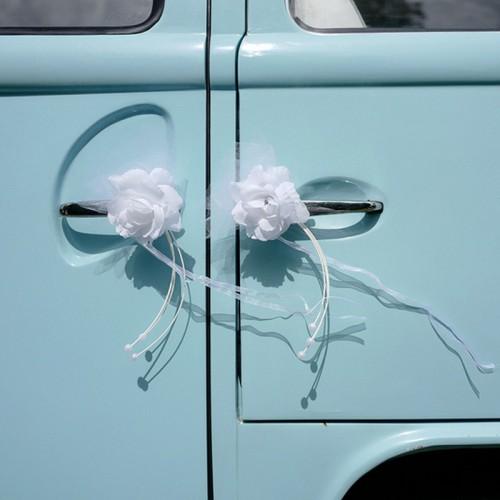 BUKIECIKI na samochód ślubny z różyczką 4szt BIAŁE