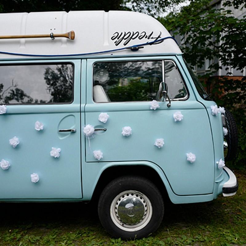 DEKORACJE samochodu ślubnego Białe Różyczki 9cm 24szt