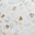ZDRAPKI zadania dla gości weselnych Gałązka Eukaliptusa 21szt ZABAWA