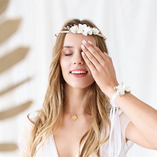 WIANEK ślubny Białe Kwiaty regulowany