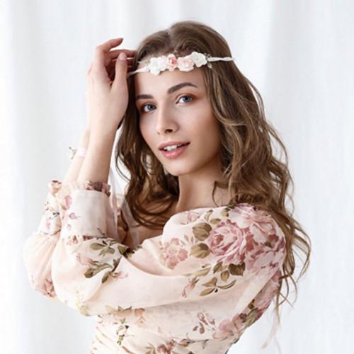 WIANEK ślubny Brzoskwiniowe Kwiaty regulowany