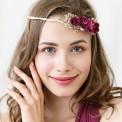 WIANEK ślubny Bordowe Kwiaty regulowany