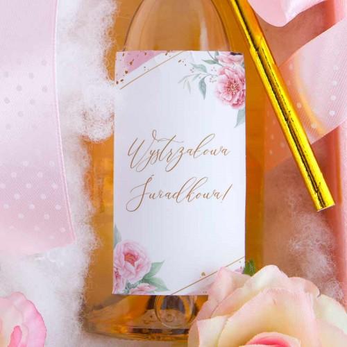 PREZENT dla Świadkowej skrzyneczka z bransoletką i winem musującym LUX Piwonie