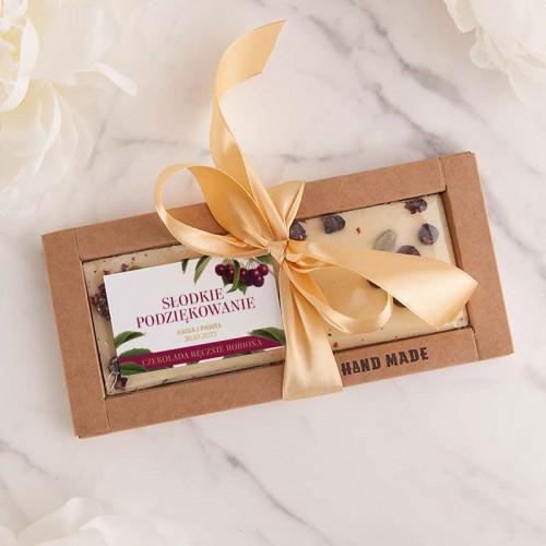 CZEKOLADA ręcznie robiona na prezent Z IMIONAMI biała z pistacją i aronią