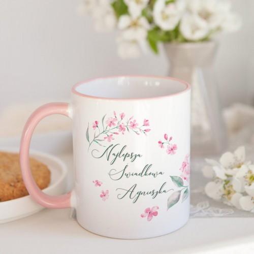 PREZENT dla Świadkowej Zestaw Herbaciany I z herbatą i miodem Z IMIENIEM w woreczku