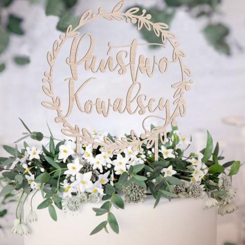 TOPPER na tort weselny drewniany Państwo + NAZWISKO Botaniczny