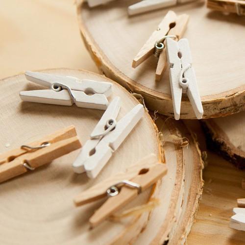 KLAMERKI drewniane dekoracyjne BIAŁE 20szt