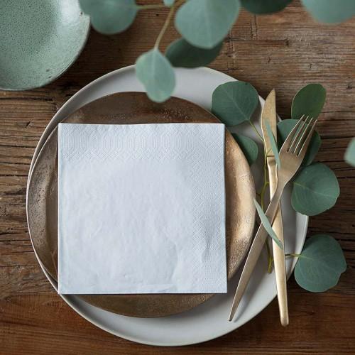SERWETKI na wesele papierowe 33x33cm 20szt BIAŁE