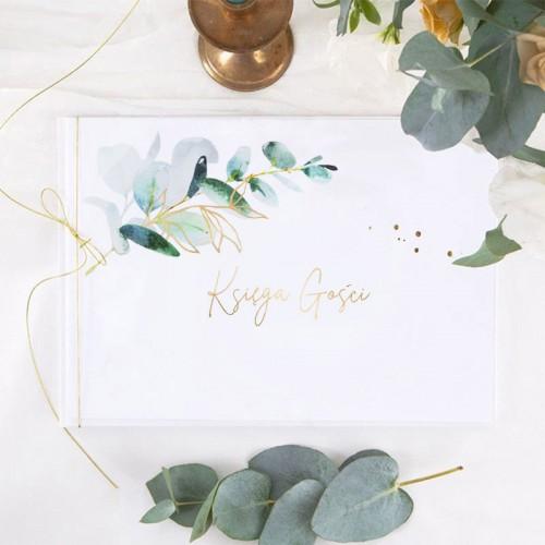 KSIĘGA GOŚCI weselnych ze złoceniem błysk Gałązka Eukaliptusa