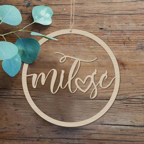 KOŁO obręcz ślubna z napisem Miłość DREWNIANE