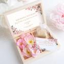 PROŚBA Czy będziesz moją Świadkową Bransoletka Nieskończoności ZŁOCONA Różowe Kwiaty
