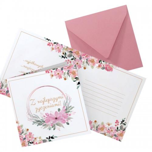 KARTKA z życzeniami na ślub, rocznicę Różowe Kwiaty (+różowa koperta)