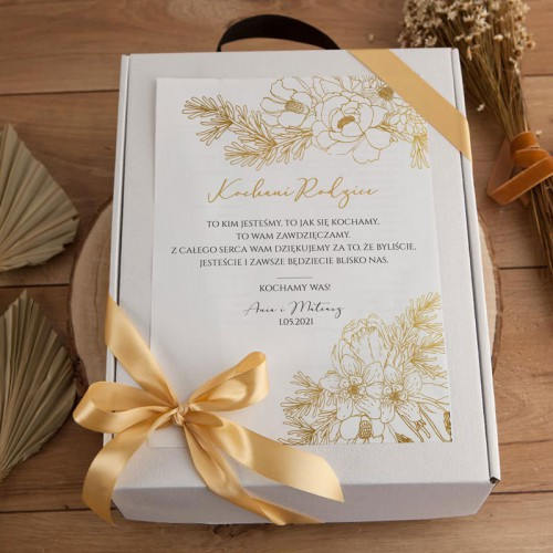 PODZIĘKOWANIE dla Rodziców kosz Prosecco i czekolada Z IMIONAMI