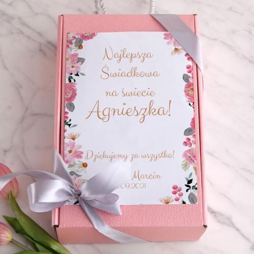 PREZENT dla Świadkowej Box Z IMIENIEM Różowy I MAŁY