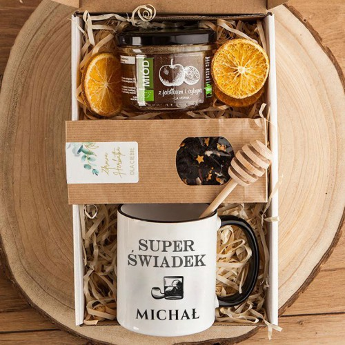 PODZIĘKOWANIE dla Świadka pudełko Z IMIENIEM Kubek i miód