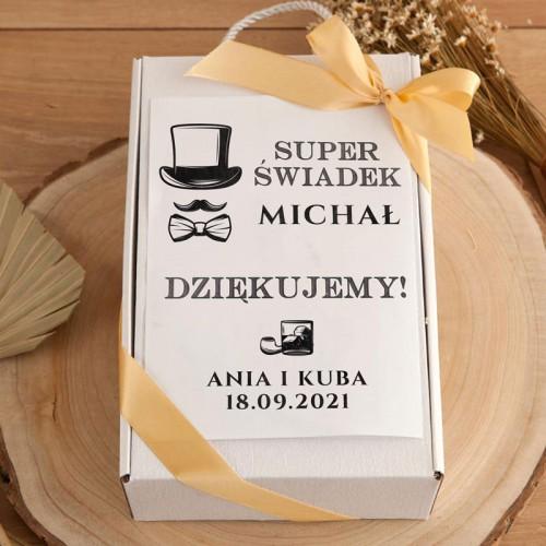 PODZIĘKOWANIE dla Świadka pudełko Z IMIENIEM Kubek i herbata
