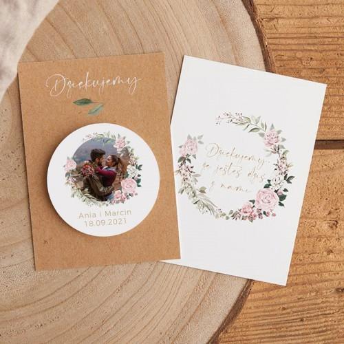 MAGNES na ślub wesele ZE ZDJĘCIEM Rustykalny Z BILECIKIEM