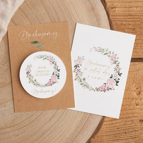 MAGNES na ślub wesele Z IMIONAMI Rustykalny Z BILECIKIEM