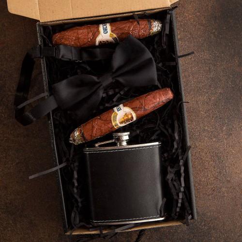 PREZENT dla Świadka pudełko Z IMIENIEM Piersiówka i cygara LUX