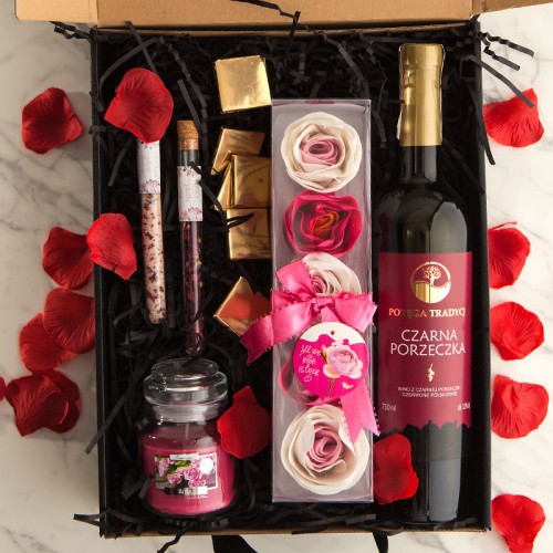 PREZENT dla Świadkowej Z PODPISEM Wino i różane konfetti