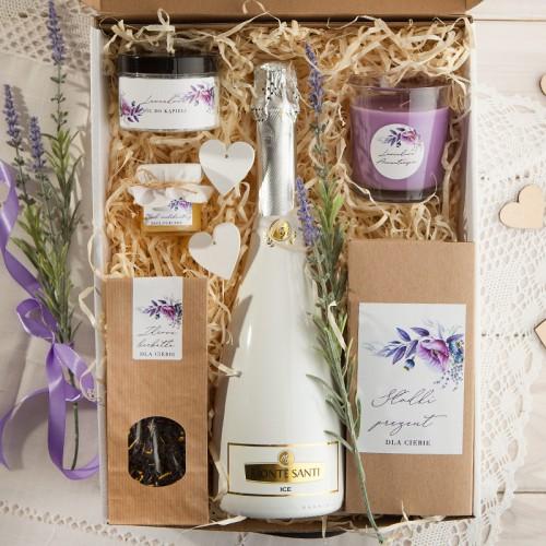 PODZIĘKOWANIE dla Rodziców Z PODPISEM Lawendowy Mega Box z winem