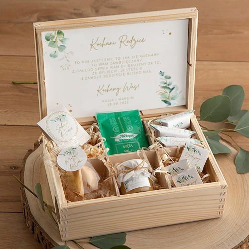 PODZIĘKOWANIE dla Rodziców Skrzynia Słodkości Z IMIONAMI Gałązka Eukaliptusa