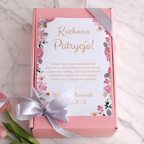 PREZENT dla Panny Młodej Box Z IMIENIEM Prosecco+makaroniki mydełka LUX