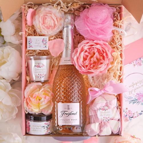 PREZENT dla Panny Młodej Z IMIENIEM Wino kryształowe Róż MEGA LUX
