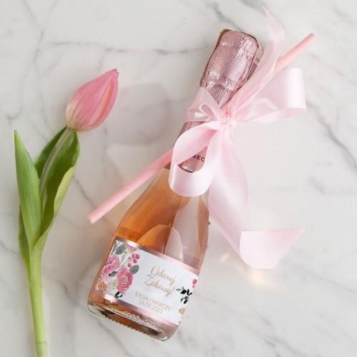 WINO MUSUJĄCE Premium Z IMIONAMI 200ml Różowe Kwiaty ZE SŁOMKĄ