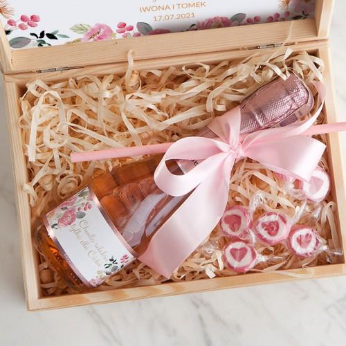 PODZIĘKOWANIE dla Świadkowej wino musujące w skrzyni Różowe Kwiaty
