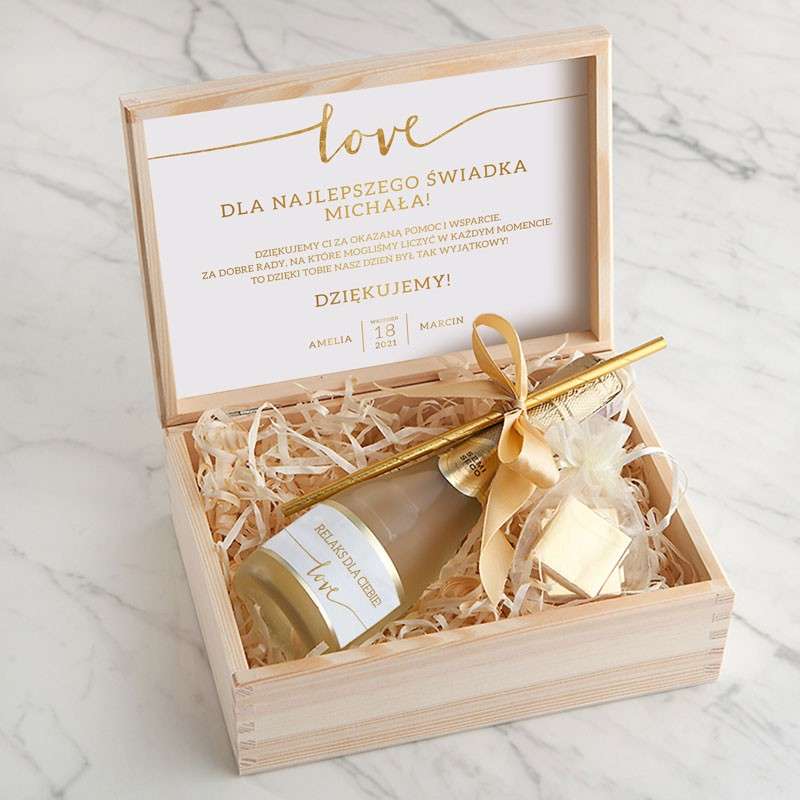PODZIĘKOWANIE dla Świadka/Świadkowej wino musujące w skrzyni Love