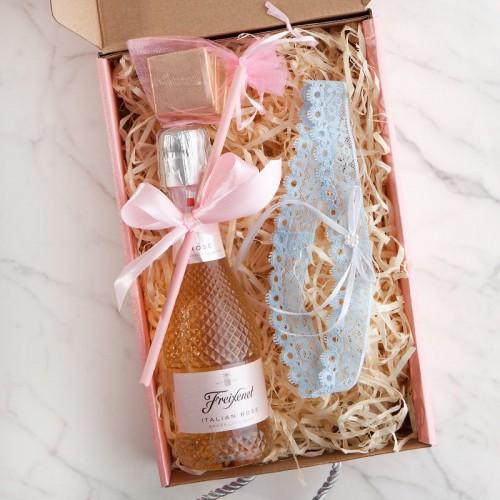 PREZENT na Panieński Box Z IMIENIEM Wino kryształowe+podwiązka LUX