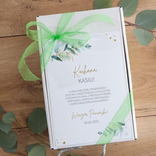 PREZENT na Panieński Z IMIENIEM Eukaliptusowy BOX z kubkiem