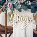 ZAWIESZKI na krzesła Bride & Groom DREWNIANE