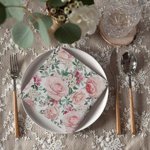 SERWETKI flizelinowe ślubne Róże Vintage 40x40cm 50szt
