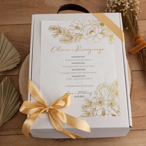 PREZENT na Ślub kosz Prosecco i czekolada Z IMIONAMI