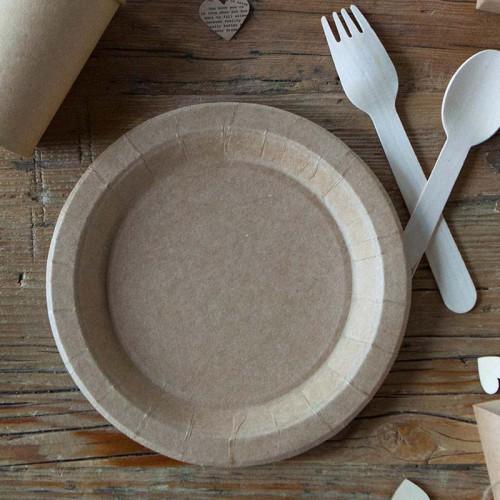 TALERZYKI papierowe KRAFT do słodkiego stołu Ø23cm 6szt