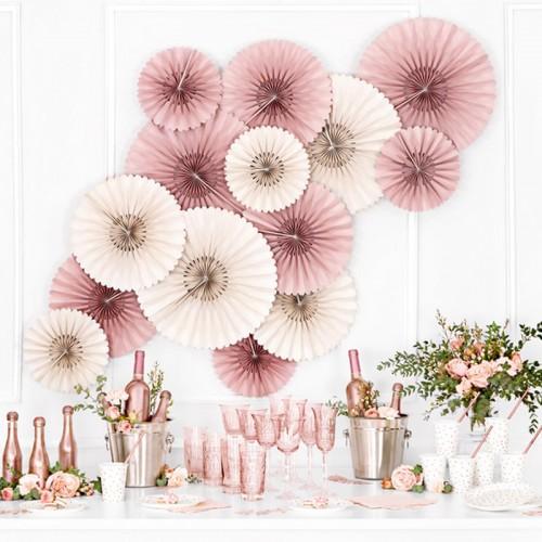 ROZETY dekoracyjne na wesele i panieński 3szt Brudny Róż