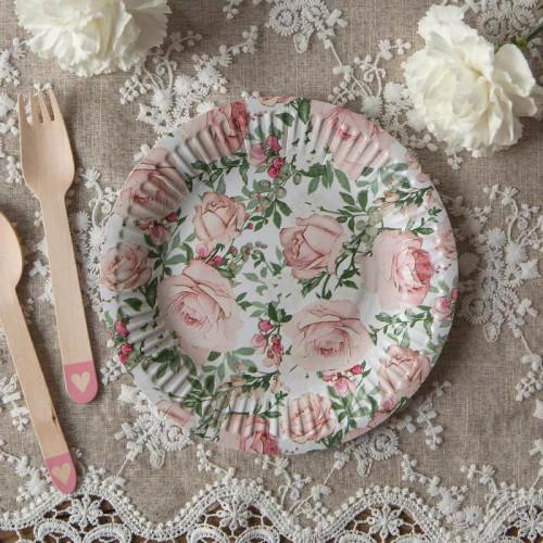 TALERZYKI na panieński Róże Vintage 18cm 10szt