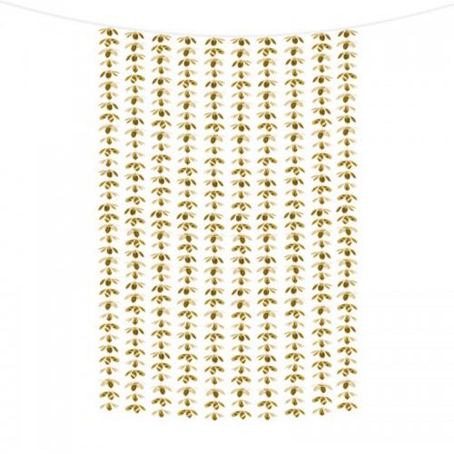 ŚCIANKA za Parą Młodą girlanda na tło KWIATY złota 100x210cm