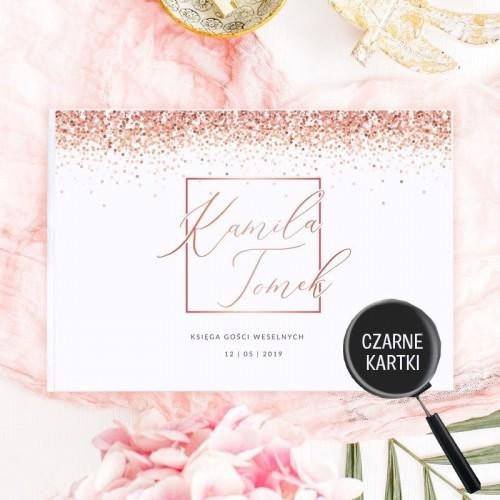 KSIĘGA GOŚCI czarne kartki fotobudka Z IMIONAMI Wedding Confetti ROSEGOLD