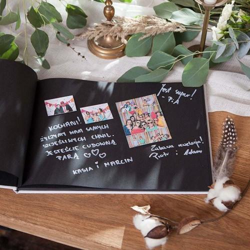 KSIĘGA GOŚCI czarne kartki fotobudka Z IMIONAMI Rustykalny wianuszek (+wstążka biała)