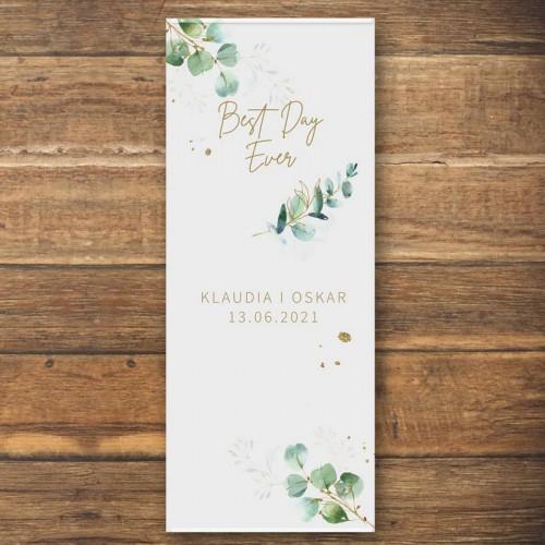 ŚCIANKA za Parą Młodą baner + listwa 60x150cm Gałązka Eukaliptusa