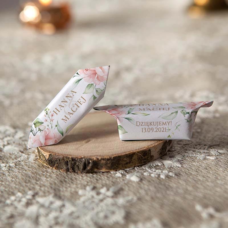 KRÓWKI podziękowanie dla gości wesele Pudrowe Kwiaty Z IMIONAMI 20szt