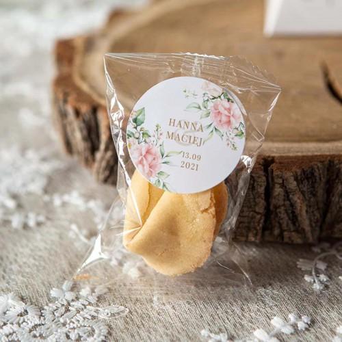 CIASTECZKA z wróżbą wesele Pudrowe Kwiaty (+etykiety z imieniem)