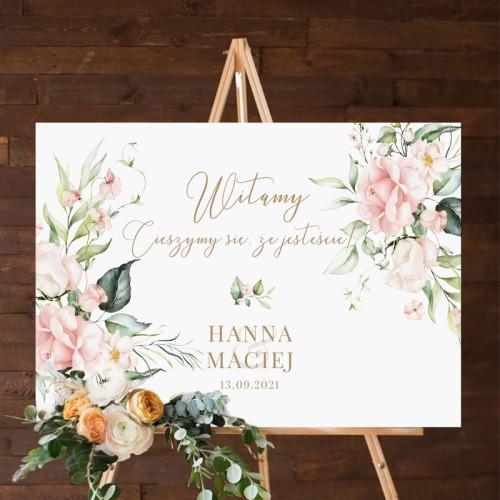 PLAKAT tablica powitalna na wesele 50x70cm Pudrowe Kwiaty