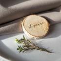 WINIETKI wizytówki stojaki krążki drewniane naturalne 20szt 4,5-6,5cm