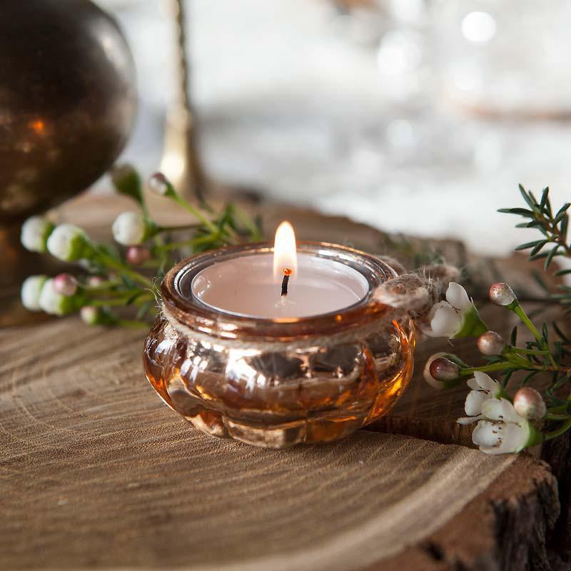 ŚWIECZNIKI na tealighty przecierane okrągłe ROSEGOLD 4szt