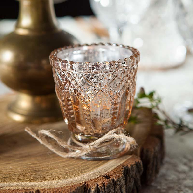 ŚWIECZNIKI szklaneczki efektowny Rosegold ala kryształ 4szt